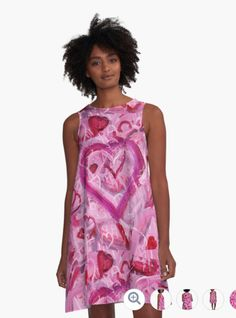 Romantic Scribble Heart Pink 17 on RedBubble A-line Dress from Melasdesign.