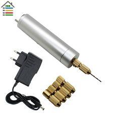 AC110-240V DIY 미니 마이크로 전기 알루미늄 손 드릴/w 5 황동 콜릿 10 개 트위스트 비트 세트 PCB 나무 모터 드릴링 모델 도구