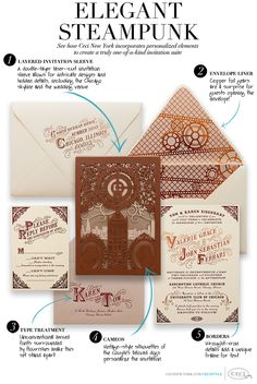 Welcome to the World of Steampunk Imagine a high-tech world where the machines were powered by steam and clockwork mechanisms replaced electronics. Invitation Paper, Invitation Suite, Invitation Design, Invitation Ideas, Wedding Stationary, Wedding Programs, Wedding Venues, Wedding Invitations, Steampunk Theme