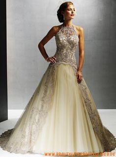 extravagantes  Brautkleid  aus Taft A-Linie