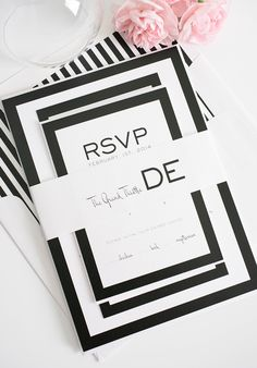 Black wedding invitations with borders and stripes