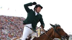 Cian O'Connor of Ireland riding Blue Loyd 12 celebrates in the Individual Jumping Equestrian on Day 12 of the London 2012 Olympic Games.