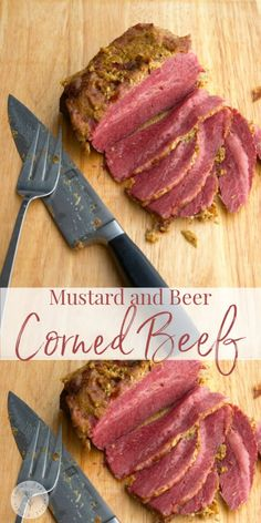 Corned Beef slowly simmered in beer; then baked with a mustard horseradish crust is our favorite way to prepare our St. Patrick's Day meal. Veal Recipes, Meat Recipes For Dinner, Irish Recipes, Slow Cooker Recipes, Salmon Recipes, Baked Corned Beef, Chicken And Beef Recipe, Recipe Maker, St Patricks Day Food