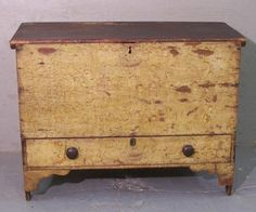 American pine blanket chest in original yellow paint c1780