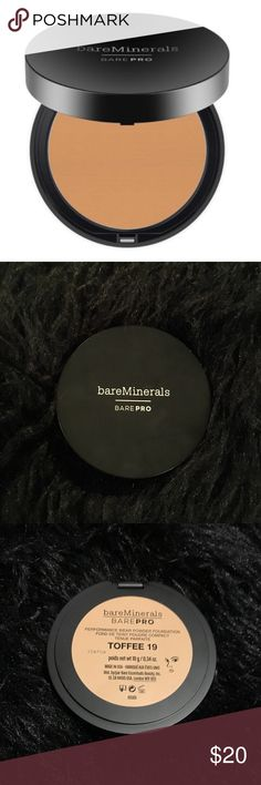 """bareMinerals barePRO Powder Foundation Toffee 19 NEW bareMinerals barePRO performance wear Powder Foundation in color """"Toffee 19."""" New without box. 0.34oz Includes application sponge inside.  Medium to full coverage. Naturally matte finish. A matte foundation that stays for 12 hours and doesn't clog pores or cause breakouts. For natural-looking glam coverage. bareMinerals Makeup Face Powder"""