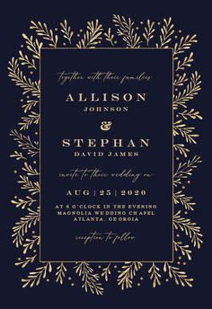 Gold Leaf Border - Wedding Invitation #invitations #printable #diy #template #wedding Free Wedding Invitations, Gold Wedding Invitations, Magnolia Wedding, Leaf Border, Response Cards, Text Messages, Gold Leaf, Create Yourself, Printable
