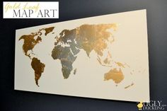 Gold Leaf Map Art - I know full well that I will never attempt this project, but it looks pretty :)