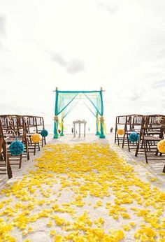 Gallery: Yellow and Turquoise Beach Wedding Ceremony Decor with Yellow Rose Petals and Teal Bamboo Arch - Deer Pearl Flowers Beach Wedding Aisles, Wedding Aisle Decorations, Beach Ceremony, Wedding Arches, Church Wedding, Wedding Ideas, Seaside Wedding, Ceremony Arch, Trendy Wedding