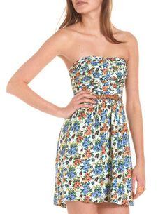 Belted Ruched Bust Floral Dress: Charlotte Russe