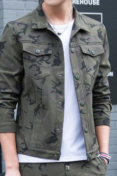 Men's #armygreen long sleeve button #jackets casual pattern design, Chest pockets, Side pockets, casual, outdoor, leisure, Occasions.