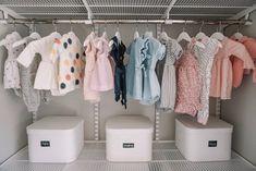 Blair's Closet and Organization Reveal – Karlie Rae Lang Baby Drawer Organization, Nursery Closet Organization, Closet Storage, Storage Bins, Organization Ideas, Acrylic Drawer Organizer, Baby Room Design, Bathroom Layout, Deco
