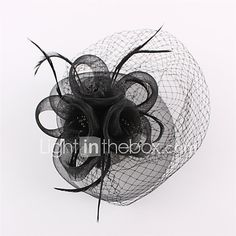 Lady Mesh Feather Birdcage Veil Flowers Fascinators Bridal Headpiece Church Hat White/Black 2017 - $11.99