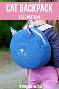 DIY Toddler Backpack - Sew an adorable cat backpack with this free pattern! Makes the purrfect gift for your little kitty lover! Nylon Anti-theft Water-r Sewing Patterns For Kids, Bag Patterns To Sew, Sewing For Kids, Free Sewing, Clothes Patterns, Cat Backpack, Toddler Backpack, Backpack Pattern, Backpack Sewing Patterns