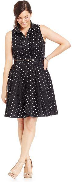 Plus Size Belted Polka-Dot Shirtdress