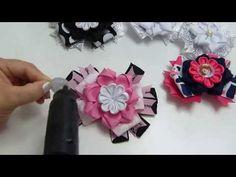 Tiara flores faciles , lazos navideños, balacas bautizo, Video 537,Ribbon flowers how to make - YouTube