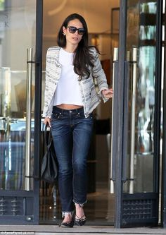 Day off: Jordana Brewster, 35, was seen showing a glimpse of her toned tummy while shoppin...