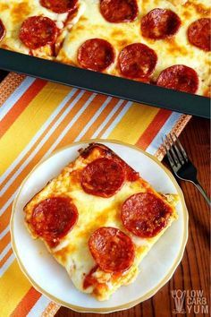 Simple gluten free low carb pizza casserole for quick keto meal.