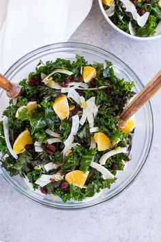 Winter Kale Salad with Shaved Fennel and Orange- packed full of vitamin C to keep your immune system strong all winter long. Plus the kale doesn't get soggy, making it perfect to pack for healthy lunches!