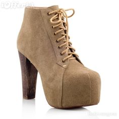 Jeffrey Campbell Lita lace up boots in taupe suede