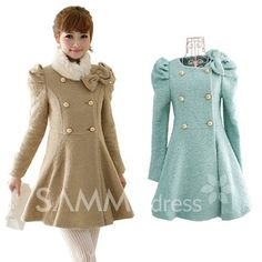 $31.50 New  Arrival Autumn Pour Corlor Sweet Bow Double-breasted Puff Sleeve Coat