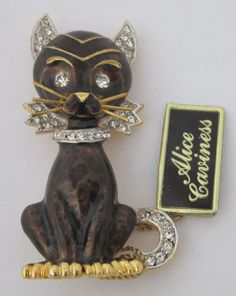 Vintage Enamel Rhinestone Cat Brooch Alice Caviness