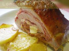 Lomo de cerdo ibérico relleno al horno - Enormous Tutorial and Ideas Pork, Menu, Dishes, Chicken, Ethnic Recipes, Man Haircuts, Spring, Baked Pork Loin, Steak Rolls