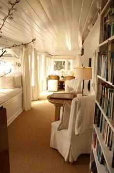 a whole hallway-long reading nook!