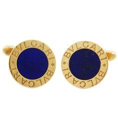 Bulgari Lapis Lazuli Gold Cufflinks | From a unique collection of vintage cufflinks at https://www.1stdibs.com/jewelry/cufflinks/cufflinks/