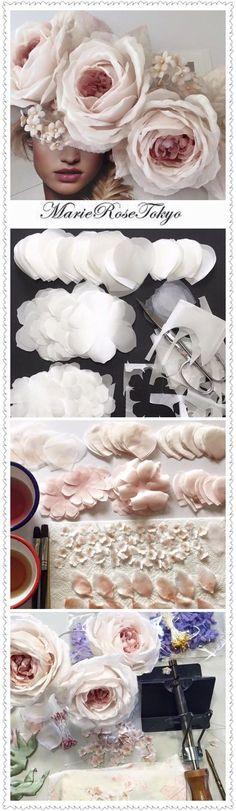 Trendy Ideas for flowers wedding paper rose tutorial Crepe Paper Flowers, Paper Roses, Felt Flowers, Diy Flowers, Fabric Flowers, Wedding Flowers, Organza Flowers, Flower Diy, Flower Ideas