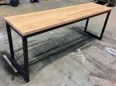 Recycled Tasmanian oak industrial desk with black metal legs