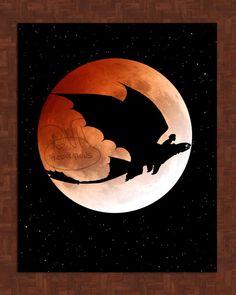* ~ Ohnezahn und Schluckauf Planetary Kunstdruck ~ * wunderbar für jeder, wie bei Train Your Dragon fan!  Echtes Mond-Foto aus dem NASA-Archiv!