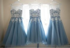 Diyouth Scoop Neckline Tank Mid Calf A Line Light Blue Bridesmaid Dresses With Lace Appliques