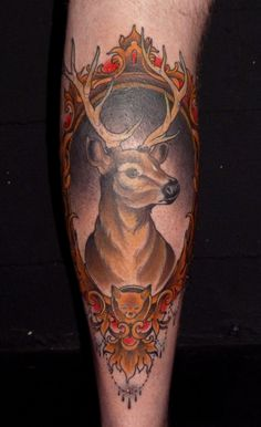 Another framed buck with fox in the frame. Tattoo by Ryan Madson at Scapegoat Tattoo in Portland, Oregon.