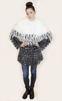 JESSIMARA GREY & WHITE RACCOON FUR & WOOL COAT