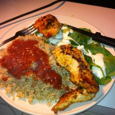Look At What I Made ~ Jasmine brown rice covered in a spicy salsa with grilled chicken seasoned with garlic powder and crushed red peppers and also baby spinach & green peppers drenched with blue cheese dressing