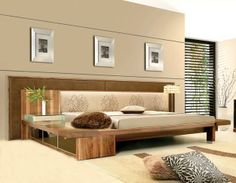 Solid wood bed in a contemporary style.