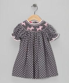 Take a look at this Gray & Pink Scottie Polka Dot Bishop Dress - Infant & Toddler by Petite Palace on #zulily today!