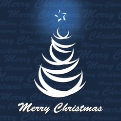 Free vector illustration of Merry Christmas typography logo with lines tree on blue Xmas pattern background
