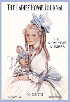 vintageg magazine cover, LHJ Jan 1, 1911. Little girl with doll, and a big bow in her hair.