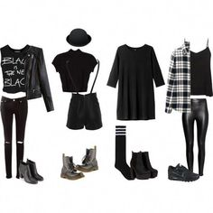 fashionswolf: All Black Edgy Outfits - Casual Outfits 2019 Edgy Teen Fashion, Punk Fashion, Grunge Fashion, Womens Fashion, Fashion Black, Hipster Fashion, Ladies Fashion, Vintage Fashion, Punk Outfits