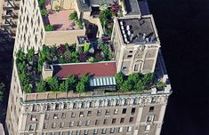 New York City rooftop Gardens,  A multi-level rooftop garden overlooking Central Park in Manhattan's Upper East Side.