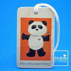 Identificateur de sac Panda - étiquette de voyage - accessoire en bois - fait au Québec - Création originale de la boutique MabieEcodesign sur Etsy