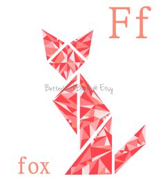 Modern Geometric Fox Art Print, ABC Animal Nursery Wall Art @BetterWithBirds