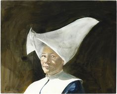 Cornet (cornette) by American artist Andrew Newell Wyeth; of a Daughter of Charity; watercolor and pencil on paper. Andrew Wyeth Paintings, Andrew Wyeth Art, Jamie Wyeth, Watercolor Landscape, Watercolor Art, Daughters Of Charity, Nc Wyeth, Art Auction, American Artists