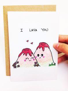 I lava you, Funny love card, cute love card, i love you card, cute anniversary card, Funny anniversary card, lava you card, pun card