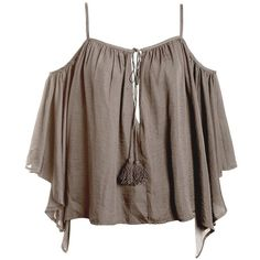 Sans Souci Taupe satin cold shoulder tassel top ($34) ❤ liked on Polyvore featuring tops, taupe, cold shoulder tops, brown top, bell sleeve tops, tassel top and sans souci