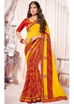 Ethnic Wear Yellow & Red Georgette Saree  - 73369