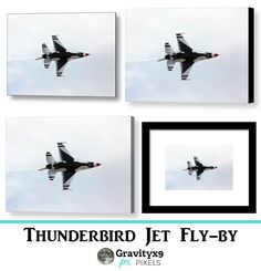 Thunderbird Jet Fly-by Photograph taken while the Thunderbirds were performing at an Air Show. Canvas & Framed prints, Home Decor & More at #Pixels #Gravityx9