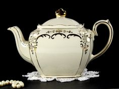 1930s Sadler Cube Antique White Teapot, Vintage Sadler Tea Pot 12646 - The Vintage Teacup - 3