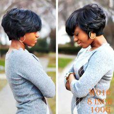 Pas cher Synthétique Perruques Courtes pour les Femmes Noires Femelle Coupe de Lutin Perruque Résistant À La Chaleur Synthétique Perruques Femmes Court Bouclés Cheveux